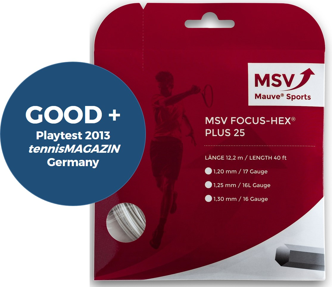 MSV Focus HEX® Plus 25 Tennissaite 12m 1,25mm weiß
