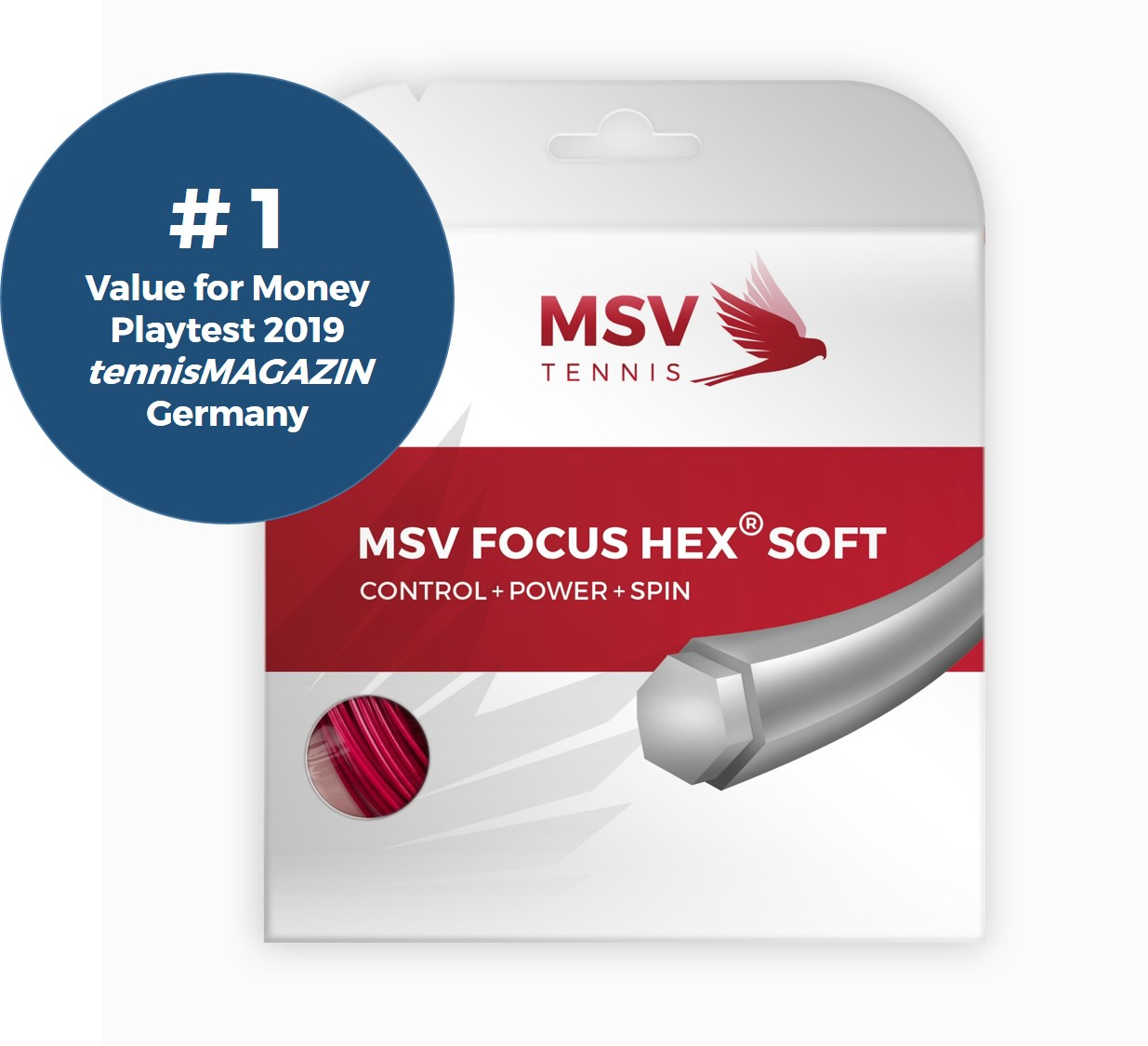 MSV Focus HEX® Soft Tennissaite 12m 1,25mm rot