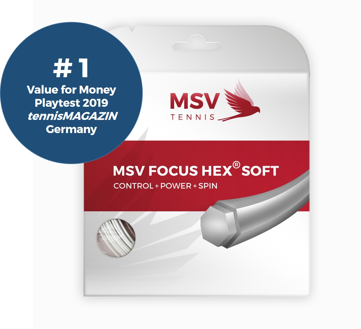MSV Focus HEX® Soft Tennis String 12m 1,20mm white