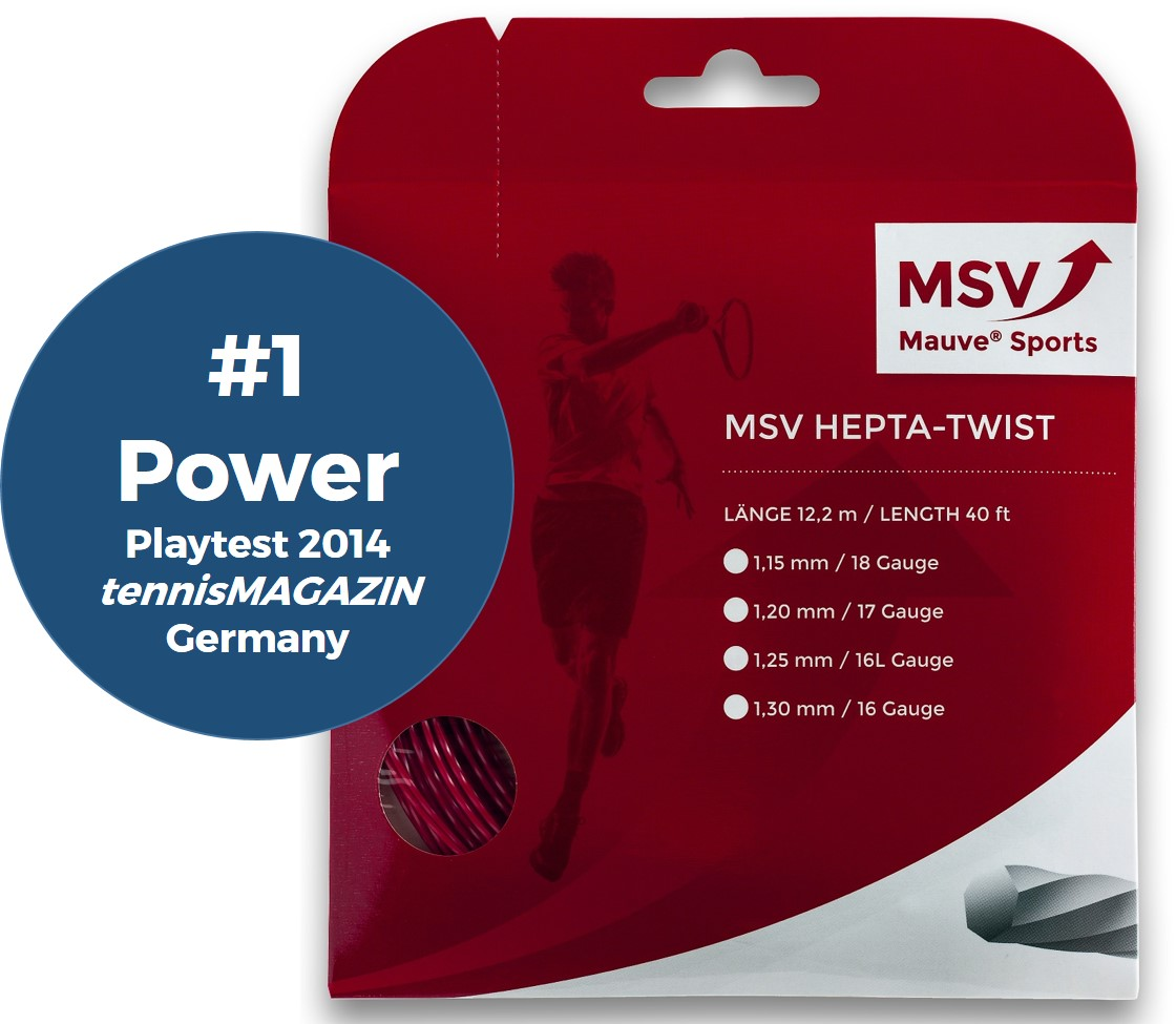 MSV Hepta Twist Tennis String 12m 1,15mm red