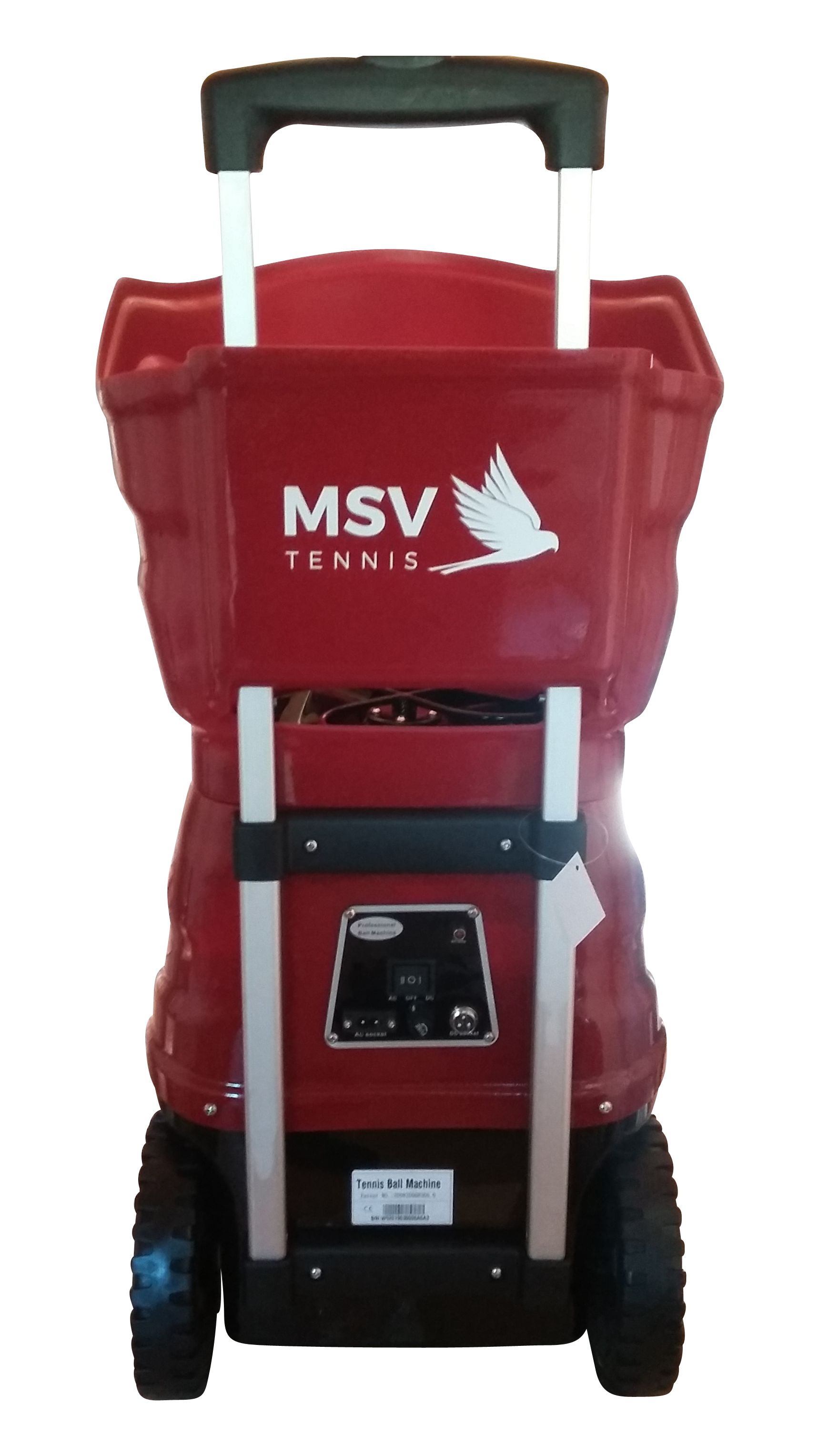 Tennis Ball Machine MSV DirectShot Red, Remote, Smart Charger, Lithium Battery, DC/AC