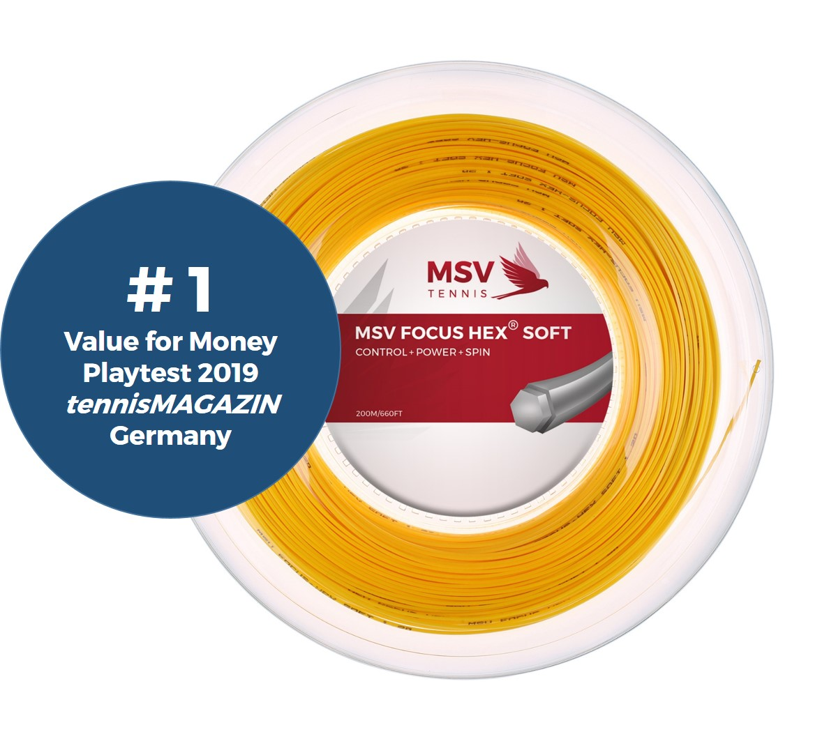 MSV Focus HEX® Soft Tennis String 200m 1,20mm yellow