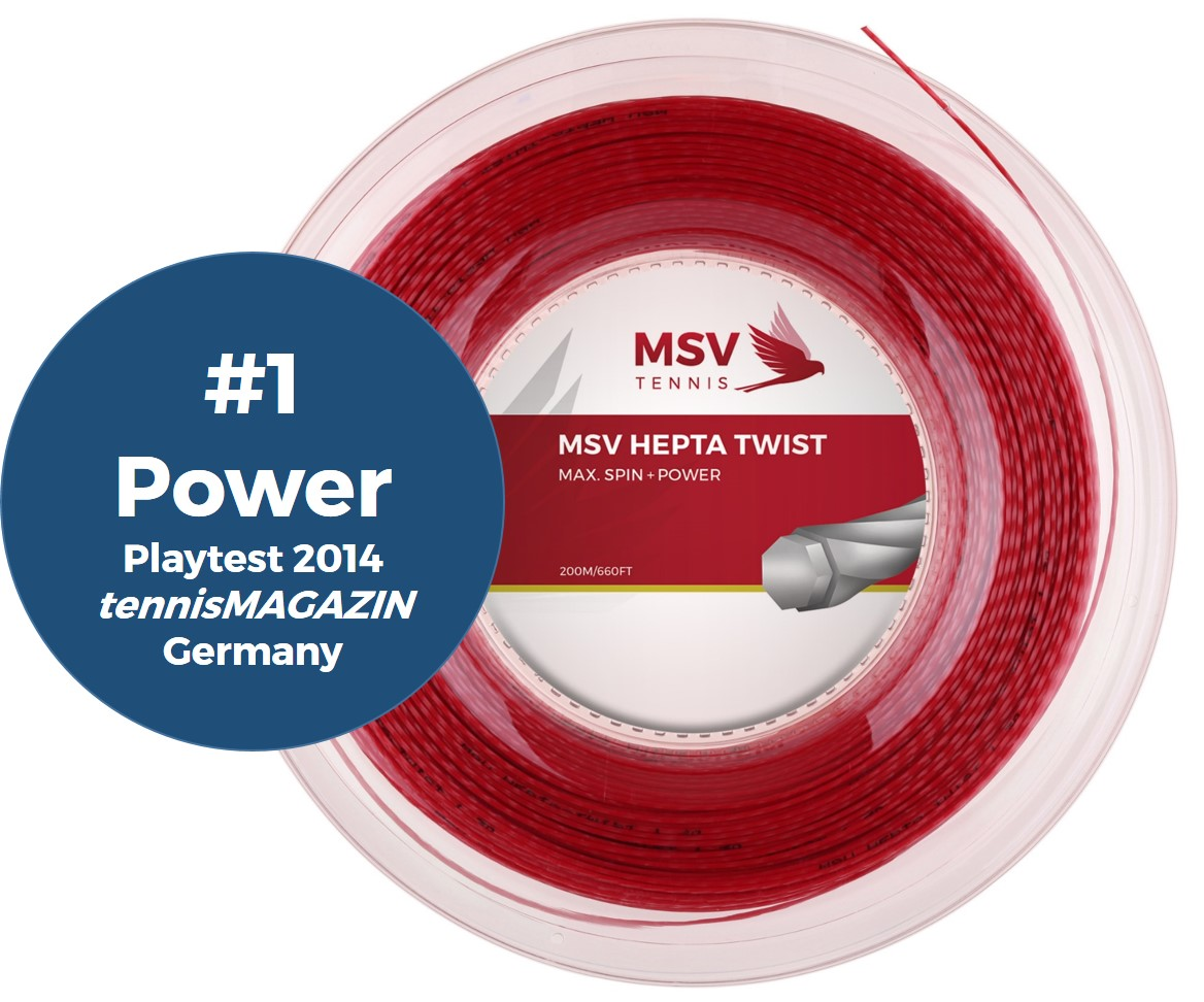 MSV Hepta Twist Tennis String 200m 1,25mm red