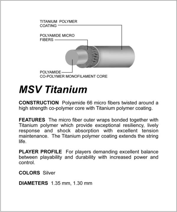MSV Titanium Tennis String 200m 1,30mm silver